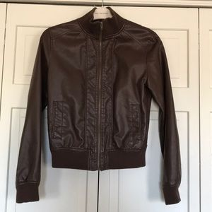 Women's brown faux leather bomber jacket